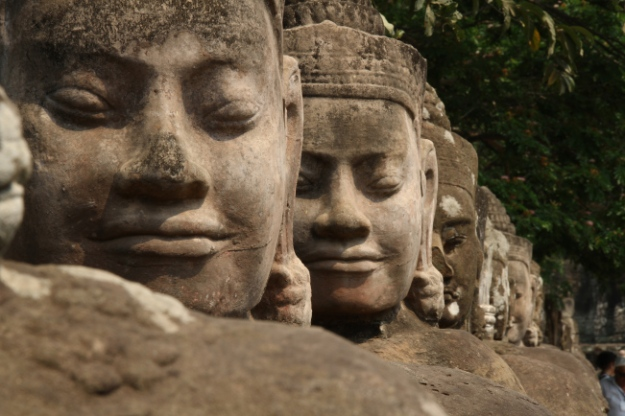 The smile of Buddha statues at Angkor Thom, Cambodia