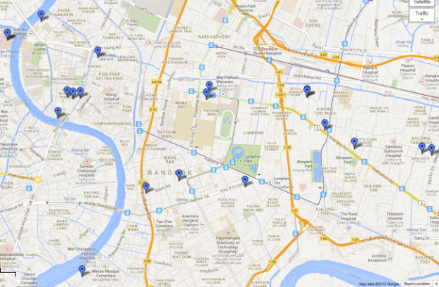 Carte de bangkok - lieux incontournables