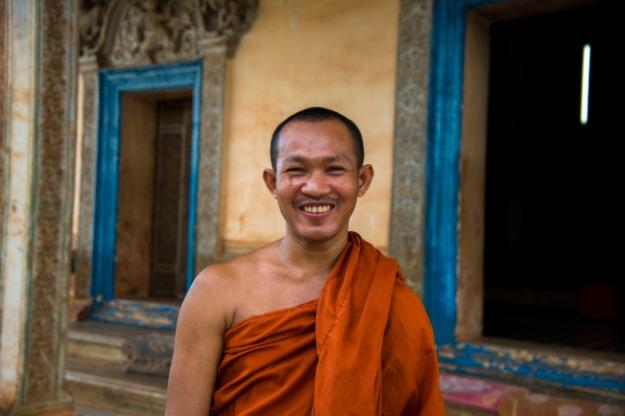 Sourire d'un moine à la pagode Wat Po, Siem Reap, Cambodge